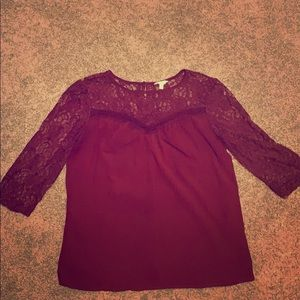 Lace pleated blouse